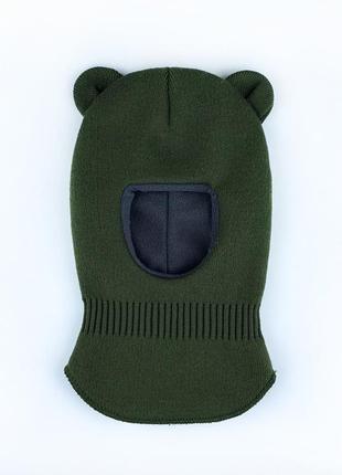 Шлем шапка с ушками мишки на флисе 42-48р топ зима 2021🔝🔥