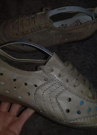 Кожаные спортивные туфли мокасины rieker