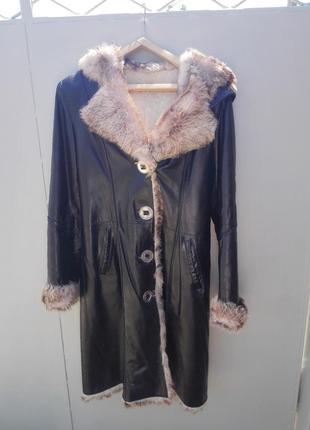 Зимнее пальто/дубленка, натуральный мех + кожа