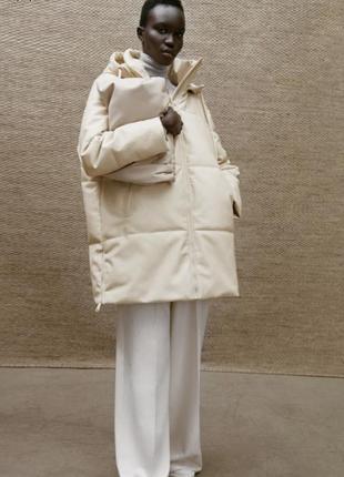Пуховик из эко кожи,пуффер кожаный ,пальто от zara