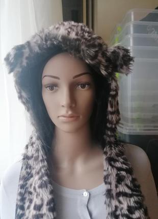Зверошапка шапка с мехом шапка с варежками matalan леопардовый принт (к033)