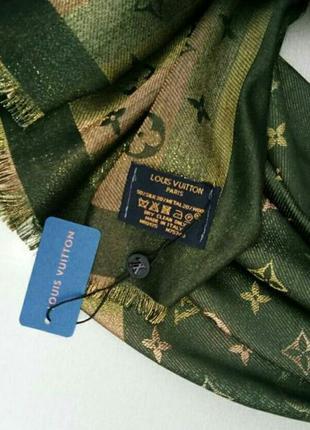 Louis vuitton шарф, платок женский зеленый с золотом люрексом кашемир / шелк