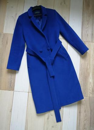Яркое обалденное длинное синее демисезонное пальто шерсть кашемир zara bershka