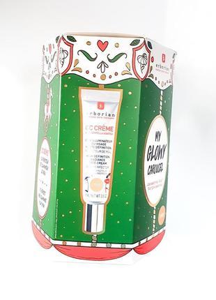 Подарочный набор erborian my glowy carousel dore: крем cc и тканевая маска glow shot mask