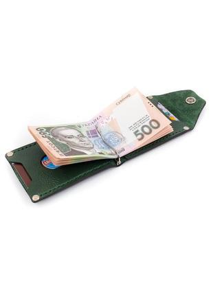 Зеленый кожаный зажим для денег ручной работы / зелений шкіряний притискач для купюр