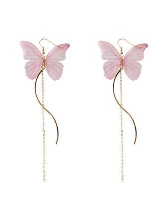 Серьги бабочки, нежная ткань