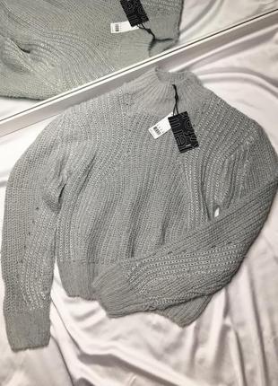 Серый люрексовый свитер размер с