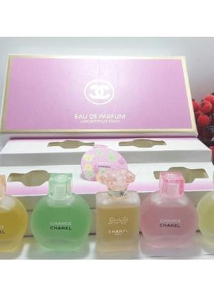 Подарочный набор парфюмов 5шт по8,5мл chanel parfum chance .