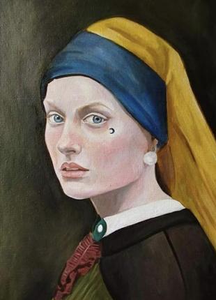 Живопись по мотивам «девушка с жемчужной сережкой» ян вермеер