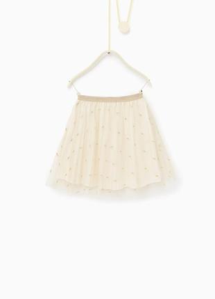 Короткая золотая юбка пачка zara