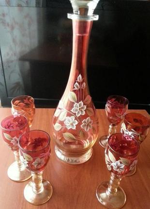 Чехословацкий набор из богемского стекла. винтаж