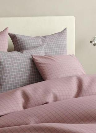 Комплект постельного белья в клетку, серо-розовый, 💯 хлопок