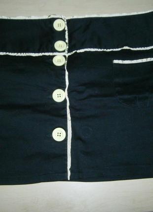 Черная с ярко зеленым хлопковая мини юбка 46р vero moda