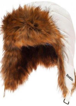 Белая брендовая очень теплая шапка ушанка на меху  reebok (оригинал)
