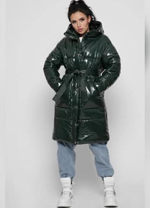 Распродажа лаковый пуховик куртка зимняя с поясом