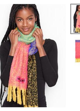 Шарф плюшевый, шарф теплый, шарф яркий колорблок, широкий шарф