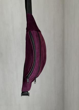 Бананка сумка из натуральной мягкой замши поясная барсетка фиолетовый б47