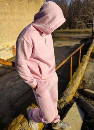 Стильный костюм oversize розовый теплый