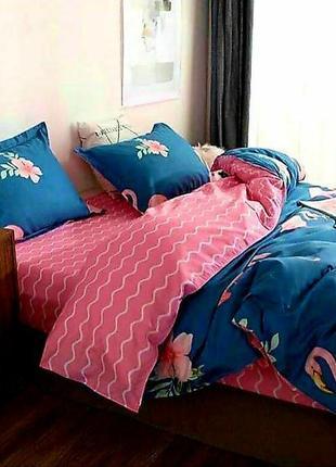 Двуспальное постельное бельё 180×220 сатин софт, двуспальный комплект, двусторонний