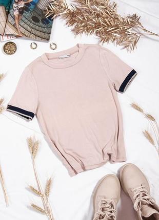 Бежевая футболка базовая, женская футболка под пиджак, брендовая футболка однотонная
