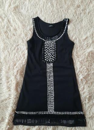 Платье, чёрное красивое платье с камнями, стразами