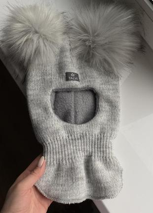 Шлем серый шапка с помпонами на флисе