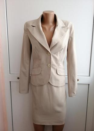 Костюм (пиджак и юбка) laura scott бежевого цвета