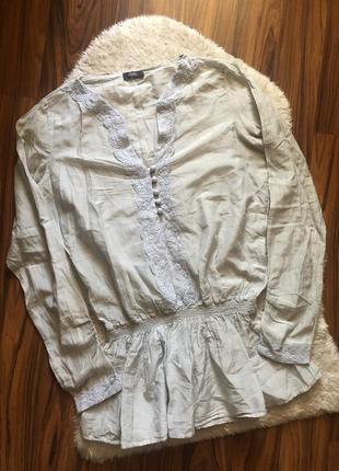 Нежная блуза хлопок с кружевной отделкой 30% шёлк размер м