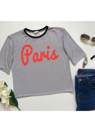 Классная вискозная полосатая футболка, кофточка футболочка с надписью бренда river island