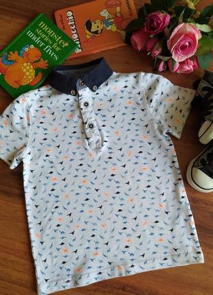 Шикарная трикотажная футболка, поло с рисунком f&f на 3-4 года