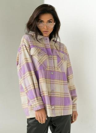 Тёплая рубашка из пальтовой ткани в клетку розовая