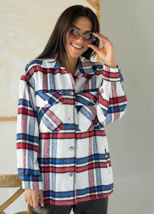 Тёплая рубашка из пальтовой ткани в клетку