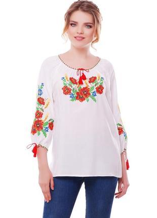 Блуза вишиванка жіноча карпатський віночок (штапель білий)