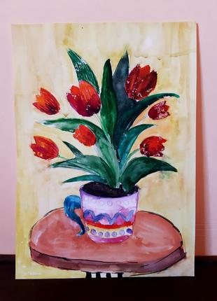Тюльпаны. живопись