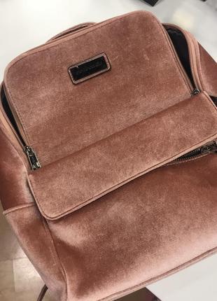 Розовый бархатный рюкзак от pierre cardin