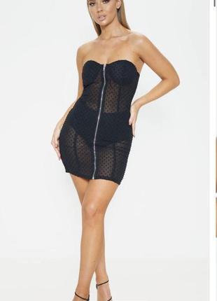 Платье без бретелек мини чёрное прозрачное prettylittlething