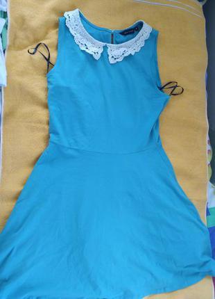 Бирюзовое платье с юбкой-солнце