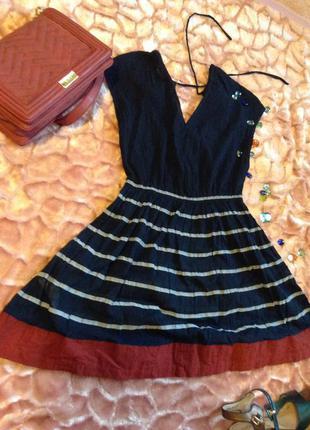 Легкое короткое платье с полосатой юбкой , french connection