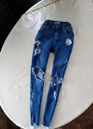 Идеальные синие джинсы с рваностями и необработанными краями new look размер xs/s