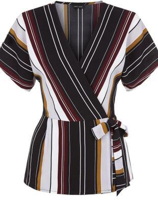 Легкая блуза кимоно в полоску с поясом new look