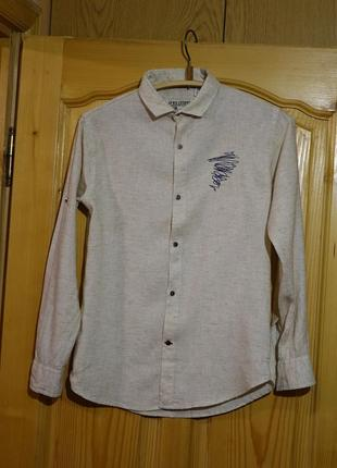Мягчайшая х/б рубашка меланжевой расцветки oks boys индия 36 р.