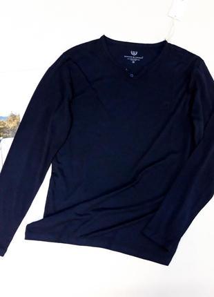 Темно-синяя футболка с длинным рукавом  benson&cherry