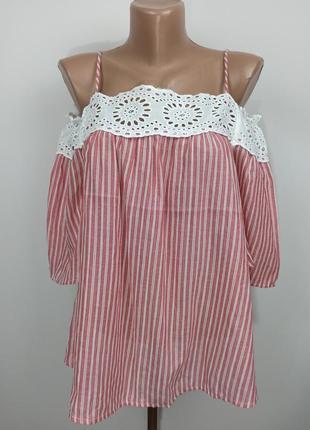 Блуза новая легкая с открытыми плечами с кружевом papaya uk 10/38/s
