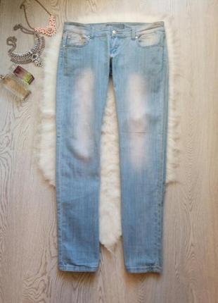 Голубые плотные прямые джинсы с низкой талией посадкой женские