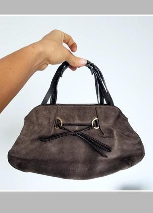 Маленькая замшевая сумочка кожаная сумка женская с короткой ручкой karen millen