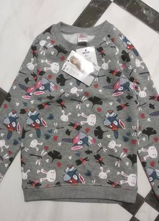 Утеплена кофта світшот, джемпер, пуловер для дівчинки pocopiano 86-92,98-104