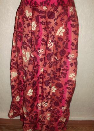 Цветная юбка летняя вискоза пояс на резинке р. 18