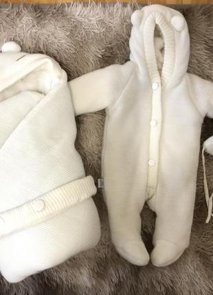 Конверт плед и комбинезон мишка на выписку из роддома зимний