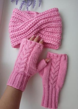 Комплект теплая вязаная повязка митенки перчатки для сенсорных экранов
