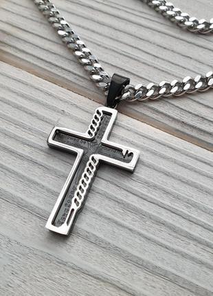 Мужской набор цепочка + черный крестик xuping, покрытие родий